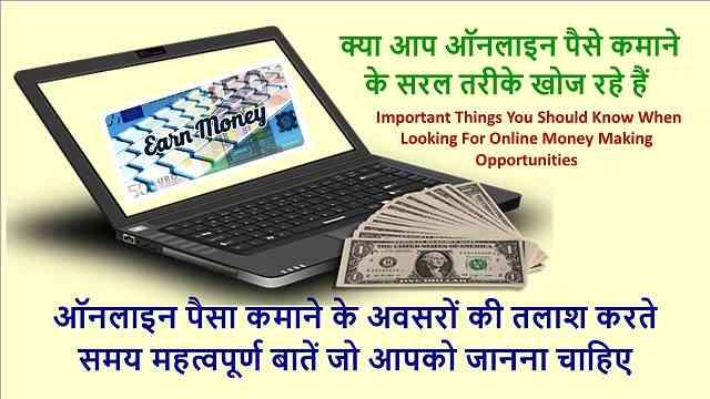 ऑनलाइन पैसा कमाने के अवसरों की तलाश करते समय महत्वपूर्ण बातें जो आपको जानना चाहिए | Important things you should know online money making opportunities